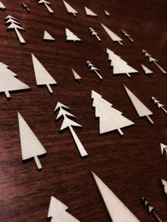 Mini Balsa Wood Christmas Trees from my husband