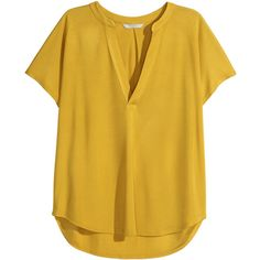 H&M V-neck blouse ($30) ❤ liked on Polyvore featuring tops, blouses, yellow, h&m tops, brown tops, rayon blouse, rayon tops and cap sleeve blouse