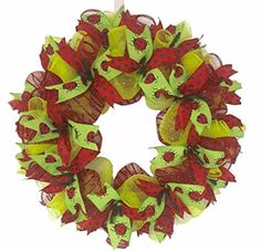 Lady Bug Summer Red  Lime Green Handmade Ribbon Wreath  25 >>> See this great product.