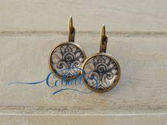 Cobalt China blue swirl drop earrings