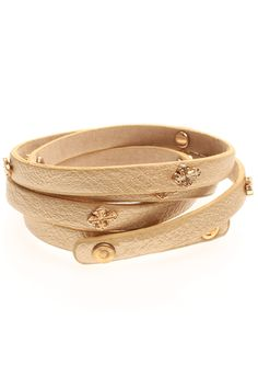 Faux Leather Wrap Bracelet With Cross Studs in Tan | T.I.L. Darling
