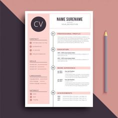 pink stylish and feminine resume CV template Creative Cv Template, Resume Design Template, Creative Resume, Resume Templates, Free Cv Template, Creative Cv Design, Cover Template, Conception Cv, Resume Layout
