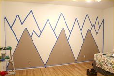 How to paint a mountain mural on your wall copper state style. Playroom Mural, Kids Wall Murals, Room Wall Painting, Kids Room Paint, Mountain Mural, Old Room, Baby Boy Rooms, Diy Wall, Printable Wall Art
