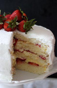 strawberry custard cassata cake – dish & tell Strawberry Cassata Cake Recipe, Italian Cassata Cake Recipe, Strawberry Cream Cakes, Strawberry Shortcake, Strawberry Fields, Casada Cake Recipe, Cake Recipes, Dessert Recipes, Cake