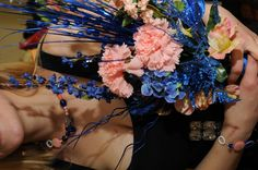 Blue & Coral Bridesmaid's Bouquet  LIke colors wihtout all the tall things on the top
