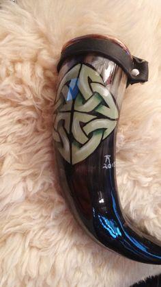 drinking horn sage green celtic knot by badgercreekstudio on Etsy. food safe coating