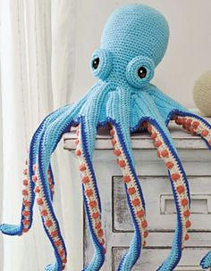 This incredibly detailed octopus toy is a brilliant challenge. It's worked using the amigurumi method, in a spiral.