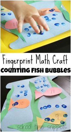 Fun math craft for your preschooler!  Count fish bubbles using your child's fingerprint!