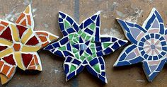 I made these #mosaic #stars for the children about 12 yrs ago - given them a freshen up and back on the #patio wall they go