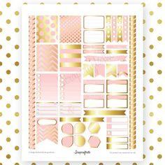 Lite Pink & Gold Printable Planner Stickers for Erin Condren Life Planner