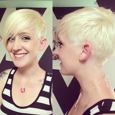 My friend @mrsironbear is such a smokin babe! Went shorter on the side! #sidecut #ladyfade #superdupesblonde #platinumblonde #shorthairdontcare #girlswithshorthair #asymmetricalhair #coolhair...