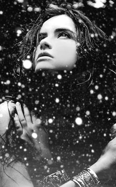 ♀ Black & white photography woman in snow Believe by Soli Art