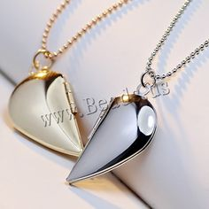 Fashion Locket Necklace, Brass, with 2lnch extender chain, Heart, plated, with photo locket & ball chain, more colors for choice, nickel, lead & cadmium free, 25x15mm,china wholesale jewelry beads