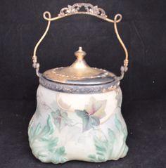 Kelva-Wavecrest-Floral-Leaves-Decorative-Lidded-Handled-Wide-Base-Biscuit-Jar