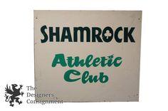 "Vintage Shamrock Athletic Club Plywood Signage Irish Bar Pub Artwork 48"" Day OH | The Designers Consignment"