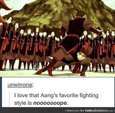 Well, he is a air bender, and air benders aren't about fighting
