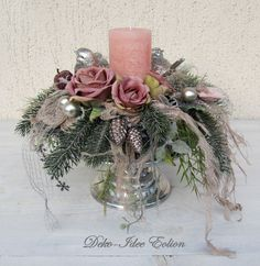 Durable advent wreath - noble part!, Durable advent wreath - noble part! Particularly elegant part in silver and delicate rosé. The wreath sits on a silver plate with a turned foot. Purple Christmas, Christmas Flowers, Elegant Christmas, Winter Christmas, Christmas Time, Christmas Flower Arrangements, Holiday Centerpieces, Christmas Tablescapes, Floral Arrangements