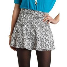 White and Black Print Skater Skirt by Charlotte Russe. Buy for $16 from Charlotte Russe