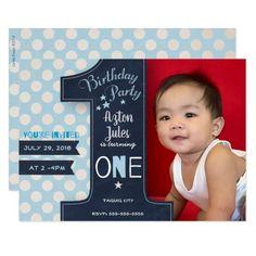 First Birthday Party Invitation Boy Chalkboard Invitation Card Birthday, Invitation Cards, Colored Envelopes, White Envelopes, First Birthday Parties, First Birthdays, Black Chalkboard, Envelope Liners, Custom Invitations