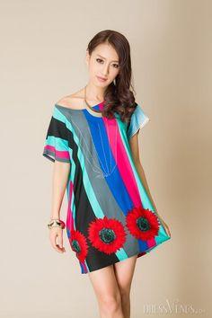 Multicolor Stripe Print Round-Neck Short Sleeve Short Day Dress, Dress