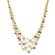 Marco Bicego 18K Yellow Gold Paradise Five Strand Mixed Stone Necklace, 16.5