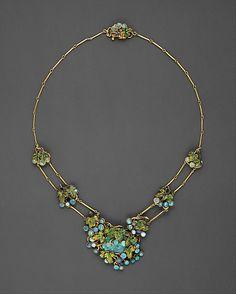 Tiffany Necklace - opals, gold, enamel