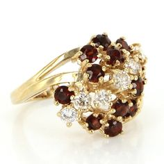 Vintage 14 Karat Yellow Gold Diamond Garnet Dome Cocktail Ring Fine Jewelry
