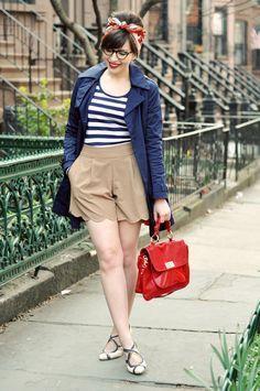 light tan shorts with striped shirt.
