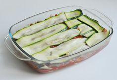 Lasagne zonder lasagne bladen maar met plakjes courgette.  Zeer gezond met heel weinig koolydraadarm