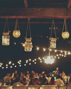 How To Hang String Lights For Outdoor Wedding : 1000+ images about Wedding Lights on Pinterest Strands, String lights and Chandeliers