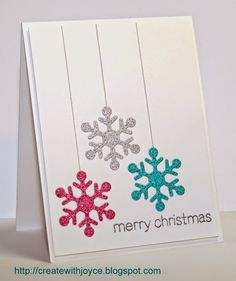 Card by Joyce uses Lawn Fawn Stitched Snowflakes dies & Trim the Tree stamp set. Christmas Card Crafts, Homemade Christmas Cards, Christmas Cards To Make, Xmas Cards, Homemade Cards, Holiday Cards, Christmas Card Designs, Cricut Christmas Cards, Beautiful Christmas Cards