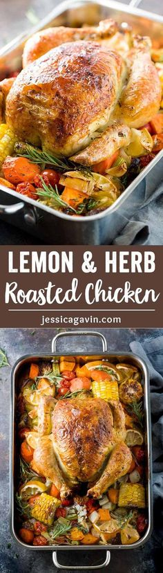 Roasted Lemon and Herb Chicken - A recipe for tender and juicy meat with crispy skin! The tomatoes and lemon add an incredible brightness and additional flavor to the dish! via @Jessica Gavin