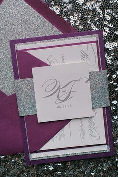 LAUREN Suite Fancy Glitter Package, orchid and silver, summer wedding invitations, fancy glitter wedding invitations, purple wedding invitation ideas
