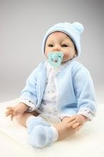 22inch 55cm Magnetic Mouth Reborn Baby Doll Soft Silicone Lifelike Toy Gift for Children Christmas Present Blue Hat & Dress by prnewprice