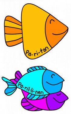 Kalat parillisten ja parittomien lukujen lajitteluun taululla tai oppilaan pulpetilla.