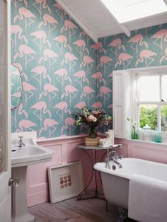 Buy Sanderson Flamingos Wallpaper | John Lewis
