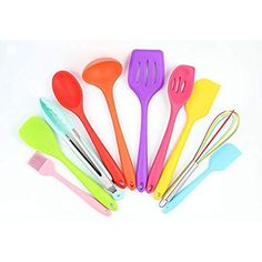 Silicone Spoons for Cooking Long Handle Spoon Kitchen Ladle High Grade Mix 6L