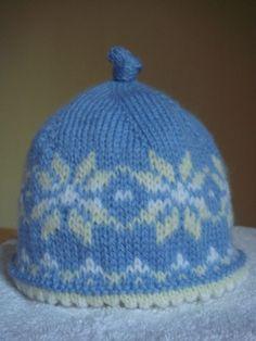 Newborn Sized Fair Isle Hat free pattern