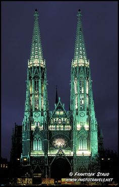 Neo-gothic building of Votiv Kirche (Votiv Church), Vienna, Austria--I had uh-mazing strudel and hot chocolate with Ryan, Carrie and Kaidence (she was 21 months old) right across the street from this gorgeous cathedral!