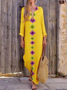 Plus Size Printed Geometric V-Neck Maxi Dress