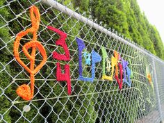 Music is Everwhere. Crochet, acrylic. Public art yarnbomb by nirvYARNah, 2014.