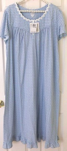 NWT ARIA LONG NIGHTGOWN SIZE 2X SHORT SLEEVE BLUE FLORAL PRINT $60 BEAUTIFUL! #Aria #Gowns #Everyday