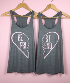 Items similar to Best Friend Shirts - Set of 2 Tank Tops Best Friend Matching Shirts, Best Friend Shirts, Bff Shirts, Best Friend Outfits, Personalized T Shirts, Diy Shirt, Athletic Tank Tops, Cute Outfits, Clothes For Women