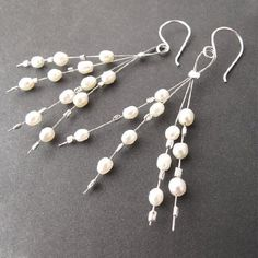 Learn to make these easy cute beaded earrings using pearls, crystals, or the beads of your choice! #seaglassearringsideas