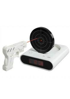 Laser Gun Shot Alarm Clock Wecker Zielscheibe und Infrarot IR Laser Pistole aus DE