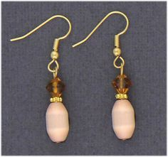 Simply Whispers hypoallergenic and nickel free Jewelry Pierced earrings gold French hook honey gold and peach beads