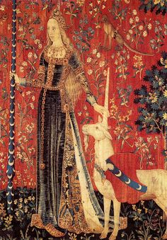 La Dame a La Licorne, Le Toucher (detail) Tapestry, wool & silk, end of century Courtesy: Reunion des musees nationeaux, Paris. Medieval Tapestry, Medieval Art, Art Rouge, Renaissance, Unicorn Tapestries, The Last Unicorn, Tapestry Weaving, Red Art, Rugs