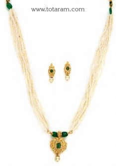 Buy 22K Gold Necklace Set with Uncut Diamonds,Emeralds,Cultural Pearls,Onyx & South Sea Pearls - DS682 with a list price of $1,418.99 - 22K Indian Gold Jewelry from Totaram Jewelers