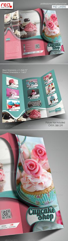 Cupcake Bakery Shop Trifold Brochure Template