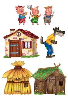 The three little pigs, their houses and the Big Bad Wolf Art For Kids, Crafts For Kids, Three Little Pigs, Preschool Learning Activities, Kids Education, Nursery Rhymes, Pre School, Puppets, Paper Dolls